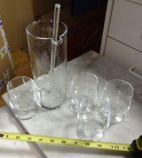 "vintage barware MARTINI SET 8.5""mixer 4 glasses glass stir stick"