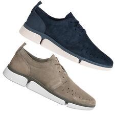 Clarks Trigenic Verve Boss Casual Herren Leder Freizeit Schuhe blau beige neu