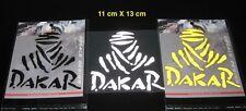 DAKAR logo Reflective Permanent Sticker / adhesive White - Black - Yellow  3 Pcs