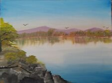 oil painting on canvas by Will Moody of Mopani lake in Kruger National Park,