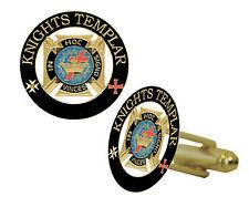 Knights of Templar Masonic Cufflinks - Gold tone w/ color Freemasons Symbol