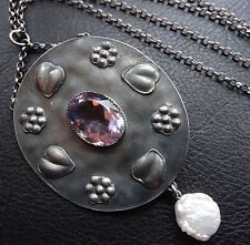 antique arts crafts SILVER AMETHYST PEARL flower pendant chain necklace -D467