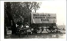 RPPC  CIMMARON, KS Kansas   COVERED WAGON  1950  Roadside   Postcard
