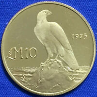 Malta 1975, 10 Gold Liri, Maltese Falcon Obv, OLD Coat of Arms Rev Small Mintage