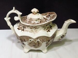 Antique Staffordshire Brown Transferware Footed Teapot