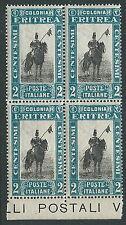 1930 ERITREA SOGGETTI AFRICANI 2 CENT QUARTINA MNH ** - M58-4