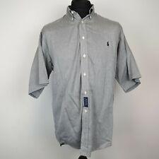RALPH LAUREN Mens Shirt 16.5'' MEDIUM Short Sleeve Grey Blaire Button Down