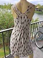 Dress Ivory Print Size Small Silky Lined Criss Cross Back Straps Love21