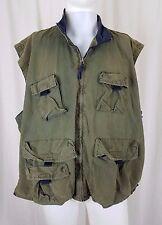 Mens Bugle Boy Authentics Military Chambray Canvas Cargo Zip Up Vest XL Green