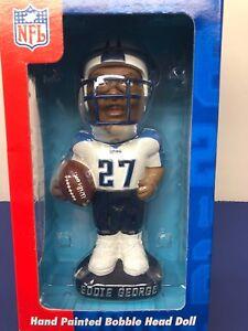 "7"" NFL Hand Painted Bobble Head Doll Eddie George Tennessee Titans NRFB"