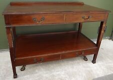 Large Antique Edwardian Mahogany Buffet Sideboard Side Server on Wheels
