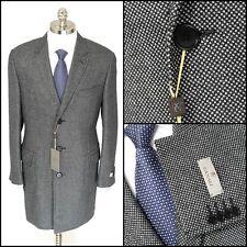 Mens CANALI 1934 Gray Birdseye All Season Wool 3Btn Over Coat Jacket 52 42 R NWT