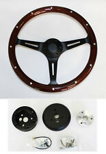 "Dark Wood Steering Wheel on Black for Ididit Flaming River Column 15"" Plain Cap"