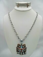 Pierced silver, brass, rose horseshoe Texas pendant necklace & earring set