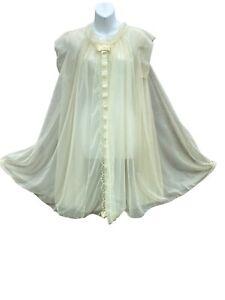 Vanity Fair Vtg 60s Women's Pale green Sheer Lace Baby doll Ribbon Gown  Medium