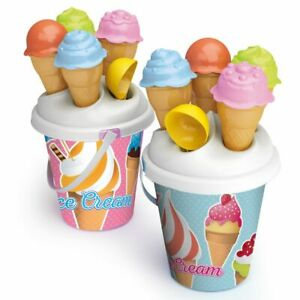 Kids Plastic Beach Bucket Ice Cream Moulds Scoop Play Toy Set Sandbox Summer NEW