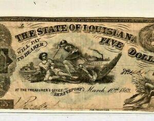 "$5 ""SLAYER NOTE"" 1800'S (LOUISIANA) $5 ""SLAYER NOTE"" (VIOLENT SCENE)!!! CRISPY!!"