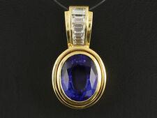Wertvoller Tansanit Diamant Clip Anhänger ca. 8,30ct    750/- Gelbgold