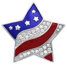 July 4th Independence Day USA American Flag Patriotic Big Star Brooch Pin p68