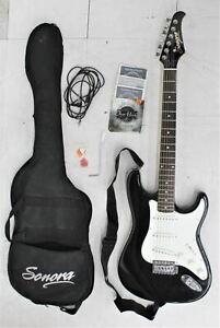 SONORA Black & White Electric Guitar SGPK-20/BK w/ Accessories Case & Strings