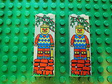 Lego Minifig ~ Lot of 2 Islander Totem Pole Pattern Bricks 1x2x5 Tall Column