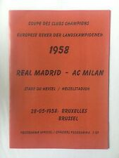 1958 European Cup Final Programme  Real Madrid Vs AC Milan