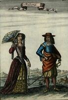 Italians natives 1683 old Mallet ethnic costume dress hand color print beautiful
