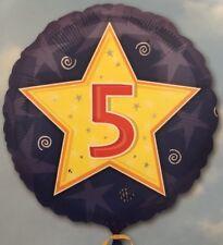 "18"" Amscan Age 5 Blue Star Birthday Foil Helium Balloon"