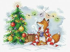 14ct Cross Stitch Kit - MP Studia - Christmas Fox New Year Lights - 18 x 23 cm