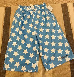 NWT Boys Dudeskin Swim Board Shorts Blue White Star Age 11-12 Years