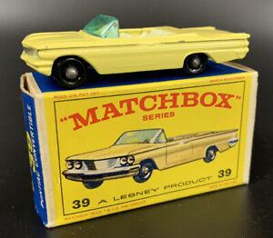 Matchbox Lesney #39 Pontiac Convertible Yellow w/blk base NM In Box
