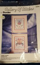 NEW Bucilla Gallery of Stitches, Home & Heart Sampler Pair, Stamped Cross Stitch
