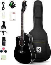 Vangoa Linkshänder 12 saitige Gitarre Elektro Akustik 4/4 12 Saiten Westerngitar