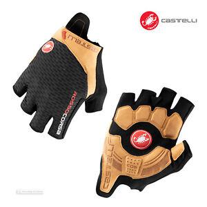 NEW 2021 Castelli ROSSO CORSA PRO V Summer Cycling Gloves : BLACK/TAN