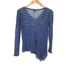 Eileen Fisher Blue V-Neck Asymmetrical Hem Linen Blend Sweater Women's Size XS