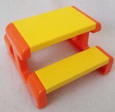 Vintage Little Tikes Dollhouse Sized Playground Picnic Table Yellow & Orange