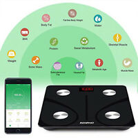 Smart Body Fat Scale Bluetooth Digital Bathroom Scales Wireless Weight BMI black