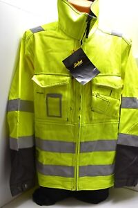 Snickers Hi Vis Class 3 Work Jacket Hardwearing Cotton Polyester Size XL