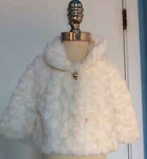 Janie and Jack Baby Girl Faux Fur Coat Plaid Party Lane Size 0-6 Months