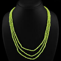 165.45 CTS NATURAL 3 STRAND RICH GREEN PERIDOT ROUND FACETED BEADS NECKLACE