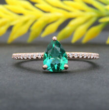 Green Created Emerald Pear Round Diamond Solitaire Gold Engagement Ring KD760