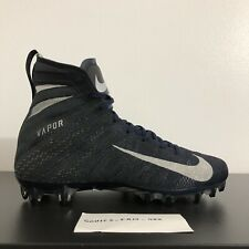Nike Vapor Untouchable 3 Elite Flyknit Football Cleats Black Silver Blue SZ 12