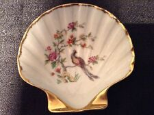 Vintage Limoge Pin Plate Shell Shaped Gold Rimmed w/Peacock and Flowers