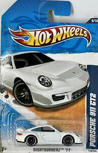 2011 Hotwheels White Porsche 911 GT2 Nightburnerz Series 9/10 Card # 119/244