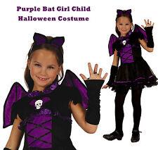 Bat Girl Costume Halloween Witch Vampire Purple Wings Dress Gloves Hband S/M/L