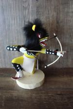 Native American Navajo Indian Handmade Yellow Kneeling Wolf Hunter Kachina! S...