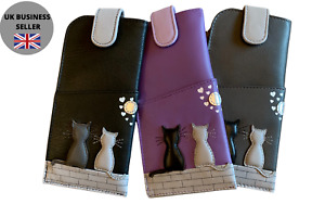 Midnight Black & Grey Cat Glasses case by Mala Leather wide tab top ladies 5172