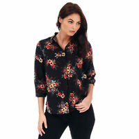 Womens Brave Soul Floral Print Blouse In Black