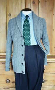 Lovely Polo Ralph Lauren Shawl Collar Cable Knit Cardigan Grey L Lambswool RRL