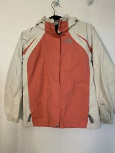 Girls North Face HyVent Jacket Removable Hood Size L Coral & Cream Color